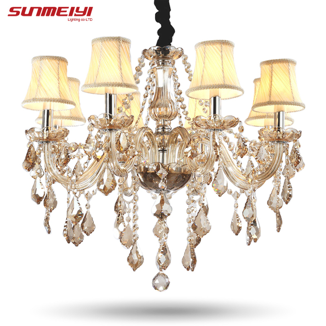 Candelabros de cristal modernos iluminación del hogar lustres de cristal decoración de lujo candelabros colgantes lámpara de salón interior