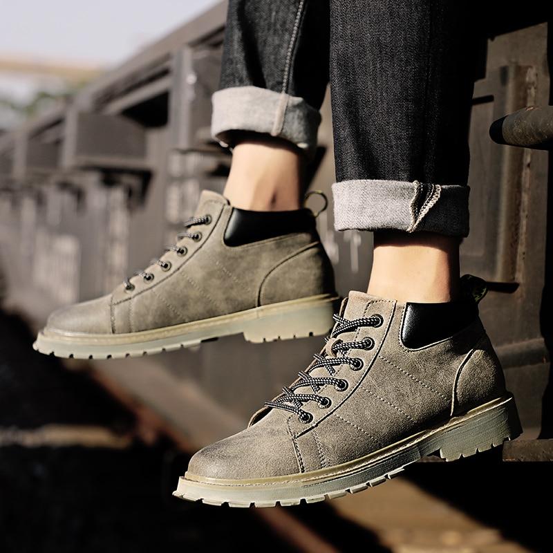Trabalho Boots Fur black Homem De Martens Para brown Sapatos Inverno Botas gray Mens Homens Fur Cáqui Segurança Outono Confortáveis Fur Ankle Fur Marrom Grossa Sola Khaki wRY1R6