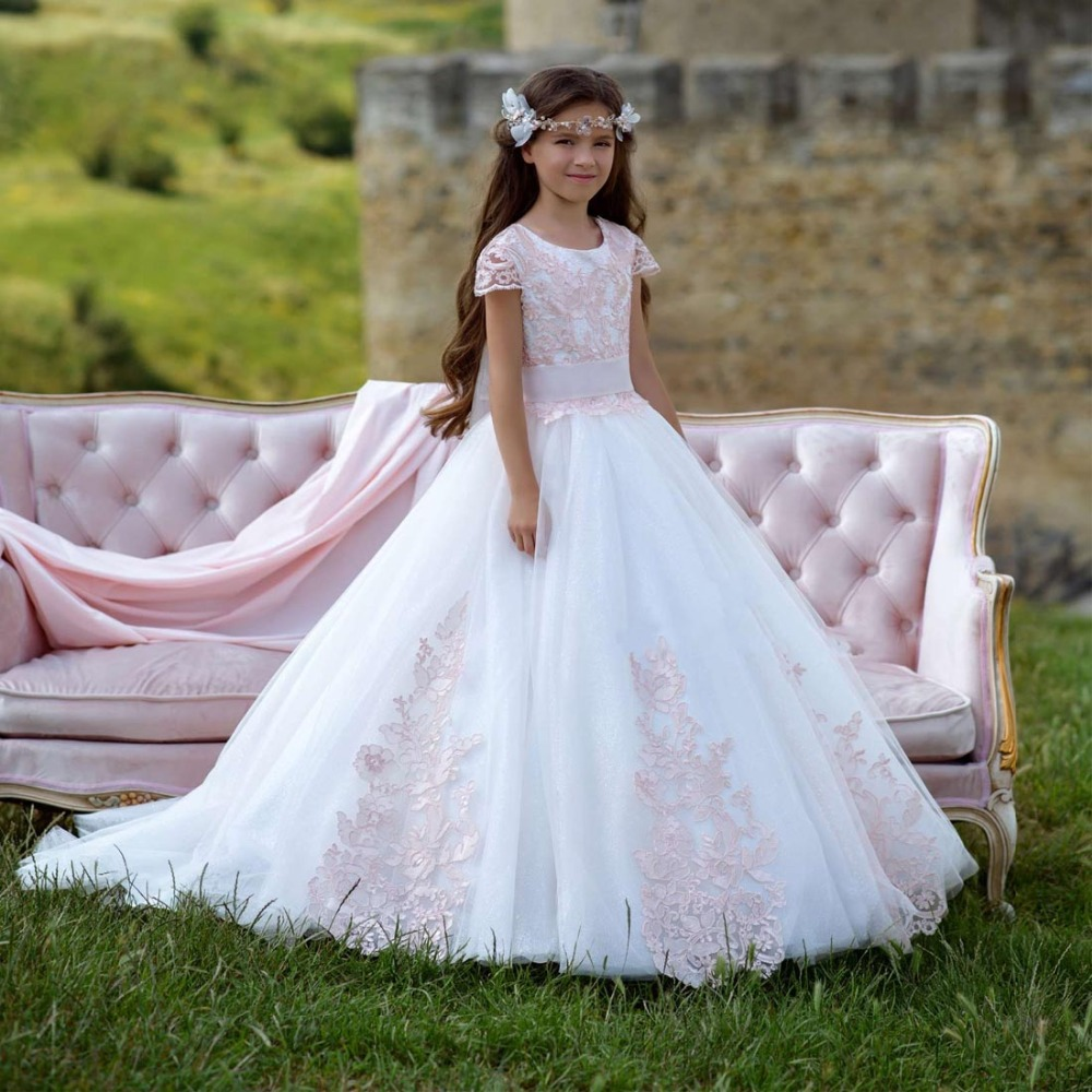 7b034644715 Cute Pink Lace Appliques Short Sleeves Flower Girl Dresses 2019 First  communion dresses Kids Ball Gown pageant dresses for girls