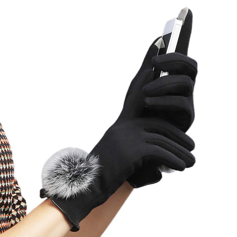 Korean Touch Screen Gloves Thermal Warm Cotton Plush Lace Women Vintage Velvet Ball Rabbit Fur Mittens