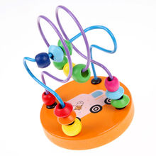 Wooden Mini Around Beads Maze Toy Mathematic Beads Roller Coaster Early Learning Educational Montessori Toy Random Color