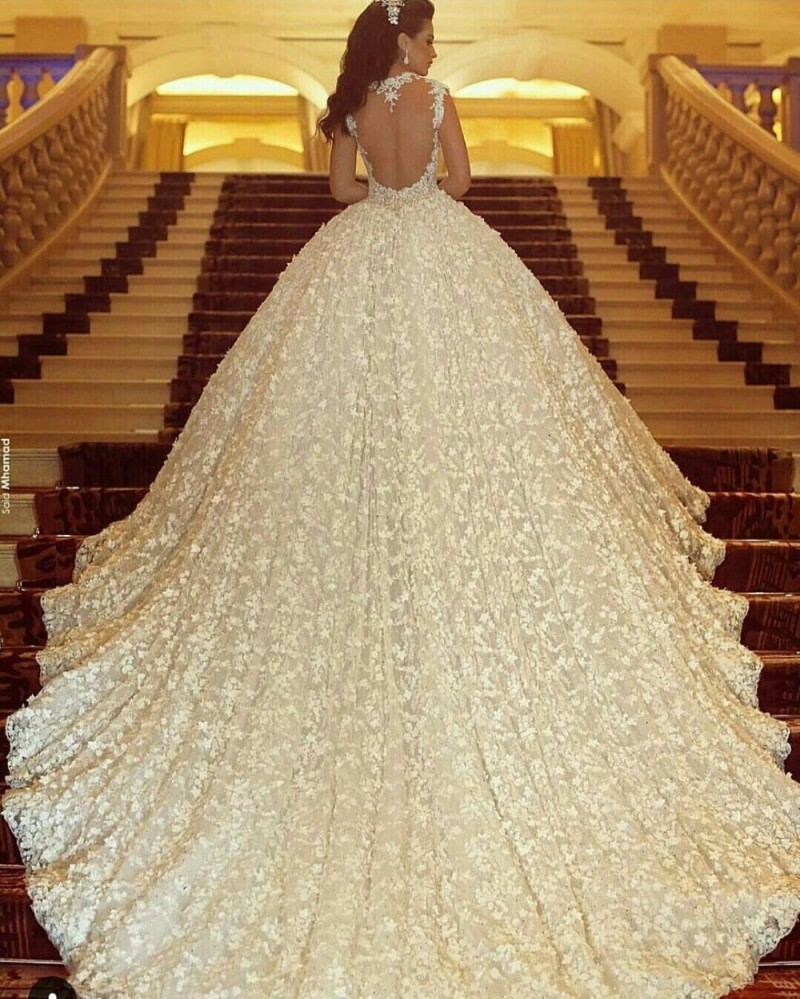 Vestido De Noiva 2017 Vintage Cathedral Train Lace Ball Gown Wedding Dress Luxury Crystal Beading Back Sheer Y Gowns In Dresses From