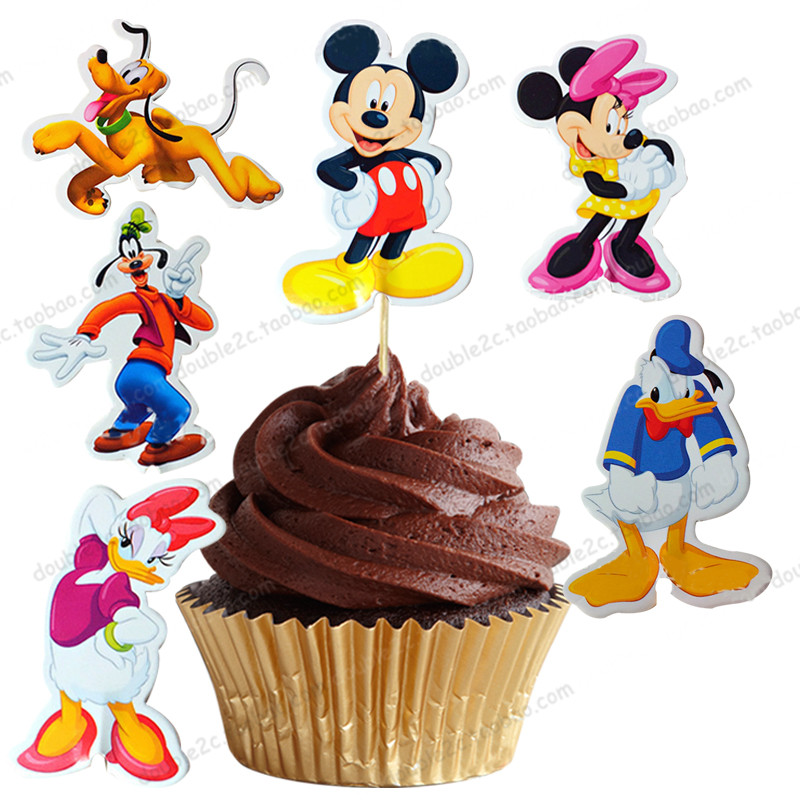 24pcs/Lot Mickey & Minnie Mouse Cupcake Topper Picks Cartoon Muffin Cake Baking Toppers kids Evnent Party Decoration Accessories