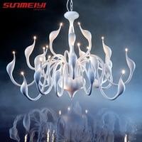 Art Deco European Candle Crystal LED Swan Chandeliers Ceiling Bedroom Living Room Modern Decoration G4 24