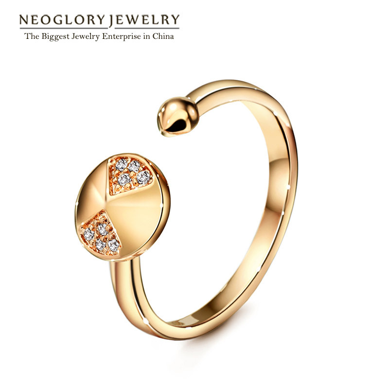 Neoglory Cubic Zirconia Rose Gold Color Charm Punk Rings for Women Fashion Jewelry 2018 New Party Simp-j Aneis RI2