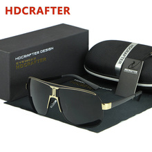 HDCRAFTER Mens Retro Polarized Sunglasses Men Luxury Brand Designer Mirror Coating Sun Glasses Man Driving Sunglass Oculos Male
