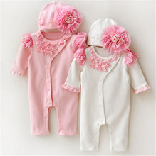 NEW Newborn Princess Style Newborn Baby Girl Clothes Kids Girls Lace Rompers+Hats Baby Clothing Sets Infant Jumpsuit