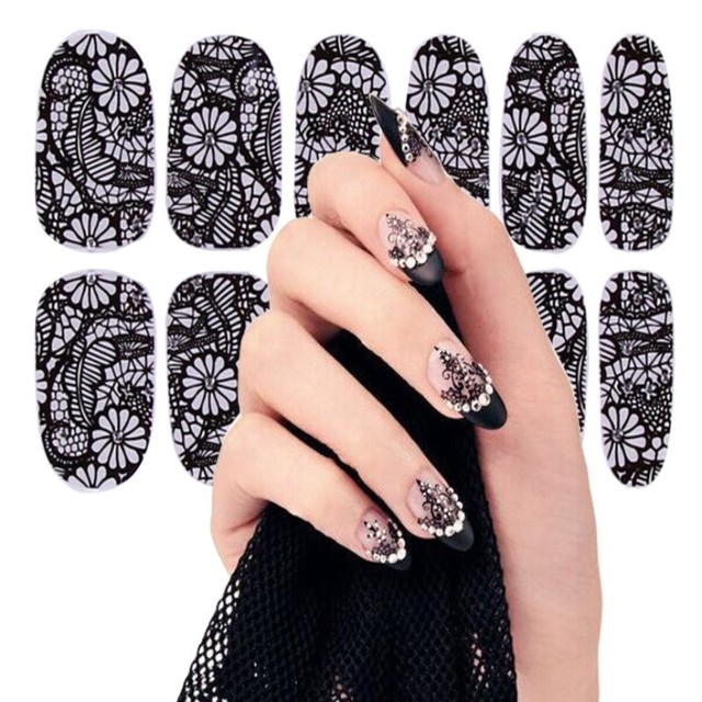 1Sheet 16 styles Trend Brand Sexy Black Lace Gothic Halloween Party Gift  DIY Tip Nail Art