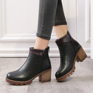 Image 3 - Gktinoo女性のブーツの正方形ヒールプラットフォームzapatos mujer本革腿の高パンプスブーツオートバイの靴