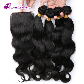 Aisha Queen Body Wave Brazilian Human Hair 4 Bundles with 1 Lace Closure 4x4 Natural Black Remy Hair