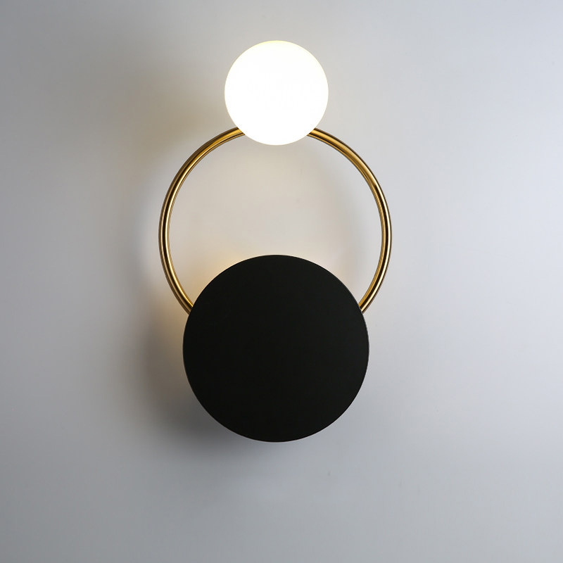 Postmodern minimalist black ball LED wall lamp bedroom bedside wall lighting corridor fixtures aisle study lamp