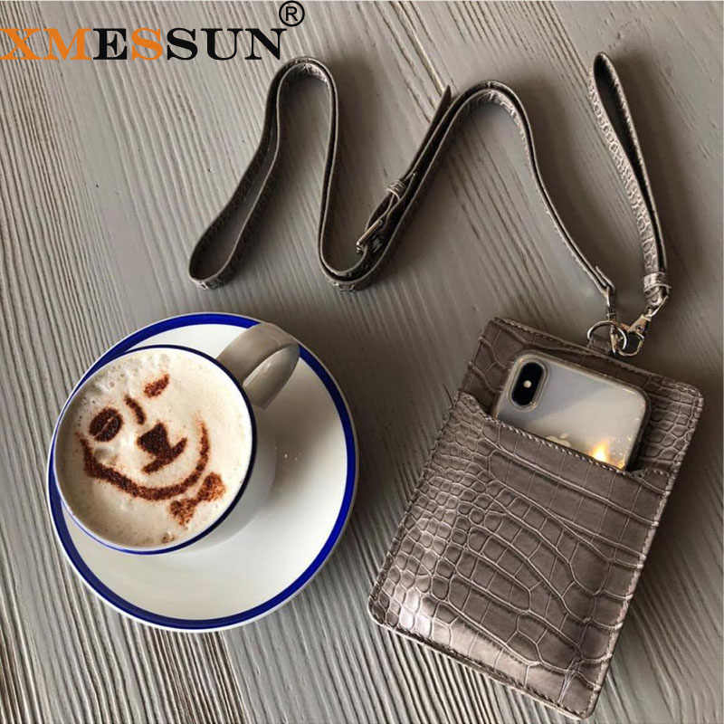 Lederen Telefoon Portemonnee Pouch Reliëf Krokodil Patroon Koe Lederen Met Lanyardr Pouch Telefoon Tas Voor iPhone X XS Max XR