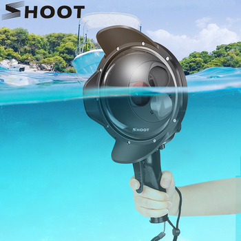 SHOOT Diving Dome Port Waterproof Case Filter Switchable Dome for GoPro Hero 7 6 5 Black Trigger Housing for Go Pro 7 Accessory high quality waterproof housing case for gopro hero 5 6 action camera hero 5 6 black edition