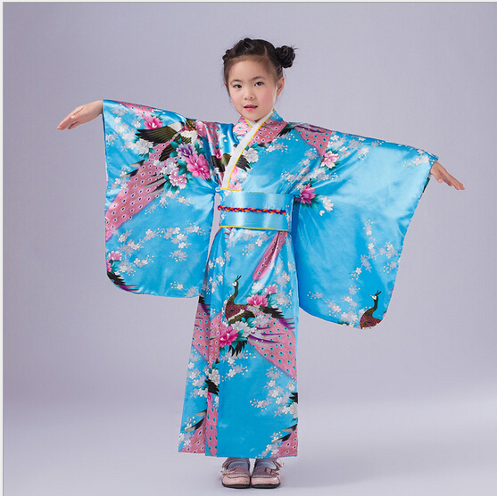 Child Novelty Cosplay Floaral Dress Japanese Baby Girl Kimono Dress Children Vintage Yukata Kid Girl Dance Costumes