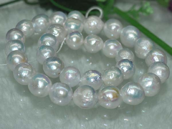 Natural RARE Blue White AA 13mm Very Luster Round Furrow Nuclear Pearl Big  freshwater pearls beads