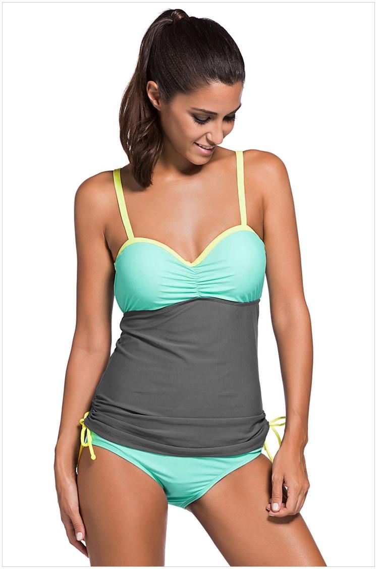 2018 Sexy Plus size Women Color Block Tankini Swimsuit Women 2pcs Swimwear Padded Bathing Suits Female Beach Wear XXL 1