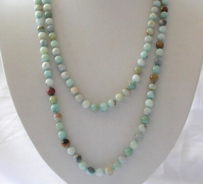 """Miss charm Jew1365 new long 50"""" 8mm round multicolor natural necklace"""