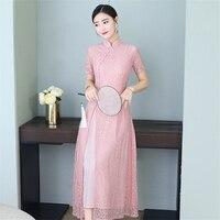 2019 News Summer Aodai Vietnam Qipao Dress for Women Traditional Clothing Lace Ao Dai Long Gown Silk Knee Length Qipao Dresses
