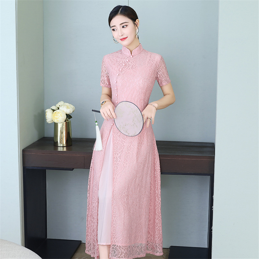 2020 News Summer Aodai Vietnam Qipao Dress For Women Traditional Clothing Lace Ao Dai Long Gown Silk Knee Length Qipao Dresses