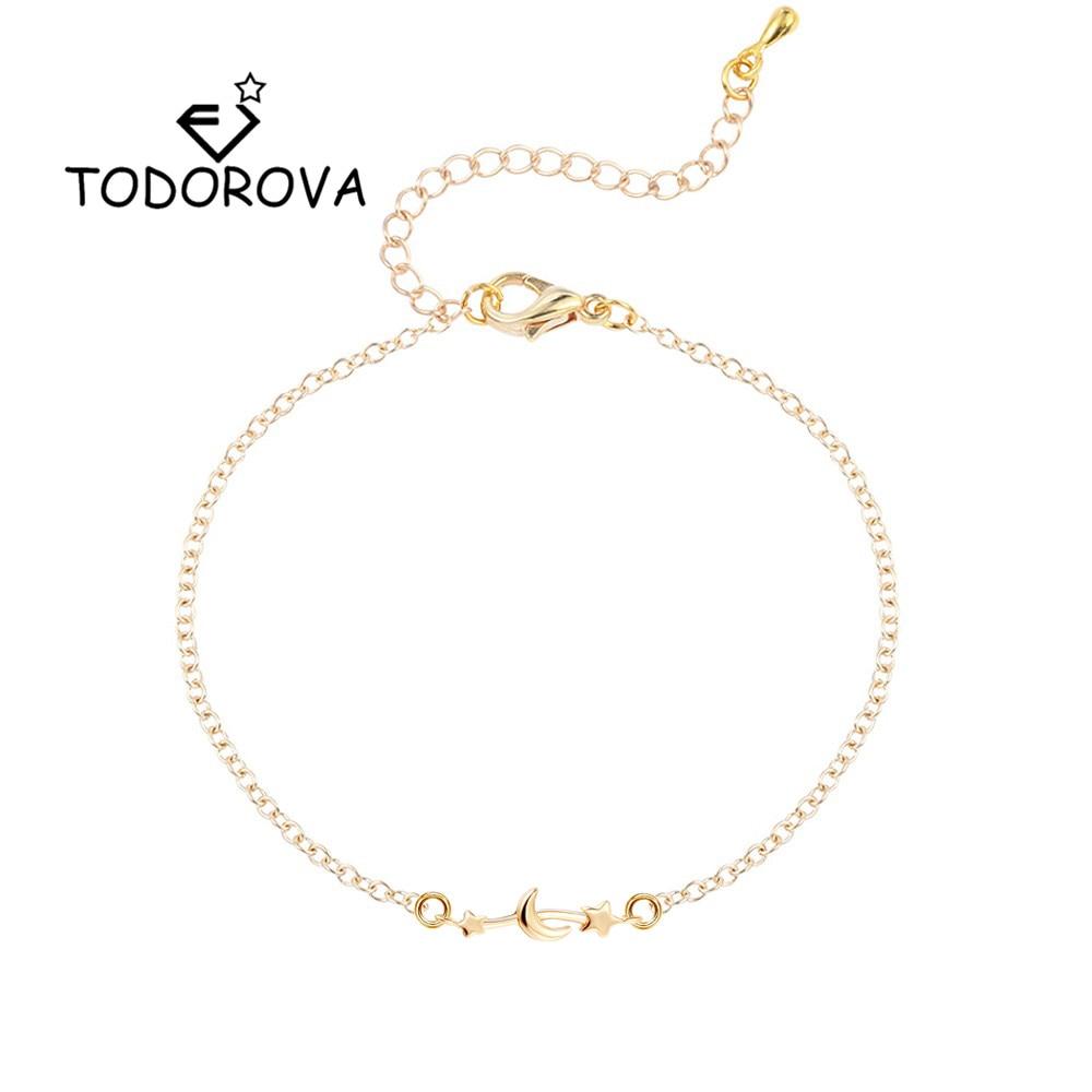Todorova Star Moon Women Bracelet Jewelry Link Chain Friendship Charm Bracelet Femme Men Accessories