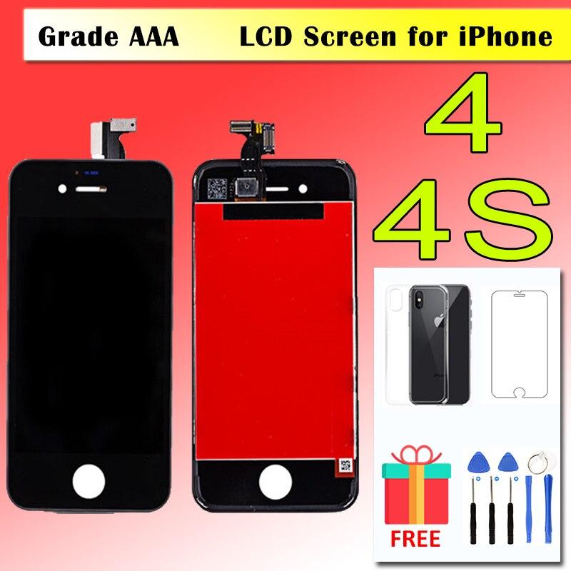 2018 AAA ekran dotykowy LCD dla iPhone 4 4S wyświetlacz montaż Digitizer wymiana pełny zestaw Pantalla moduł Ecan do naprawy z prezenty