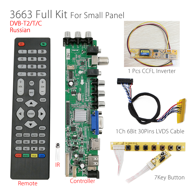 Support Russian 3663 Digital signal DVB-C DVB-T 7-key button+1 Lamp Inverter+1ch Signal 6bit LVDS cable Universal LCD TV Driver