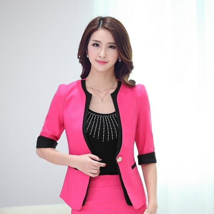 Новинка синий сезон: весна-лето бизнес женский пиджак пальто Топы корректирующие куртки пиджаки для женщин Feminino женские офисные Blaser верхняя одежда - Цвет: Rose