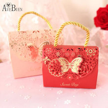 AVEBIEN 20pcs Creative Butterfly DIY Handmade Gift Bag Sweet Day Wedding Decoration Gift Box Pink/Red Hollow Flower Candy Box(China)