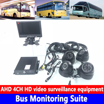 Single SD card 4ch MDVR AHD720P 3-inch plastic hemispherical car camera Bus Monitoring Suite local video Monitoring and playback