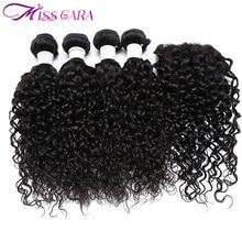 Malaysian Water Wave With Closure 100% Human Hair 3/4 Bundles With Closure Middle/ Free Part Closure Miss Cara Remy Hair Weaves