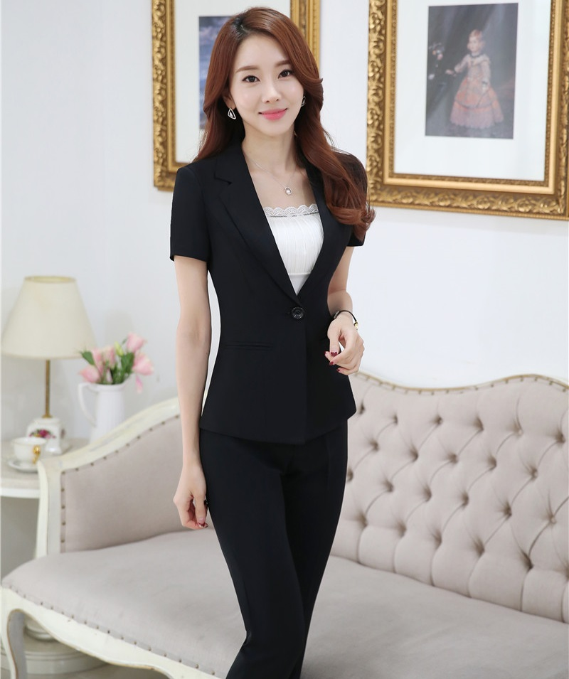 Plus Size 4XL Professional Business Suits Jackets And Pants Female Pantsuits Short Sleeve 2016 Summer Ladies Trousers Sets