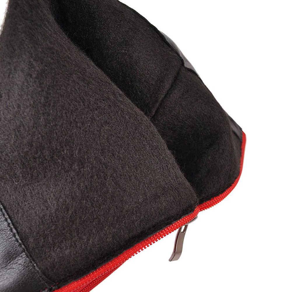 DoraTasia Neue Ankunft Plus Größe 31-48 Mode Kniehohe Stiefel Lace Up Schnalle Dekoration Herbst Winter Frauen Stiefel schuhe Frau