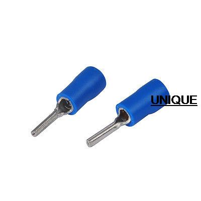 100pcs/lot 16-14 AWG PTV 2-10 Blue Insulated pin wire Terminals electronic spade RoHS connector crimp tip цена и фото