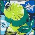 130 cm * 130 cm 100% Seda de la Marca Euro Mujeres Del Estilo Floral Hoja Verde Planta Impreso Bufanda Cuadrada de Seda de Femal Mantones de la manera