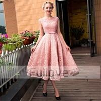 Новое модное розовое кружевное платье для выпускного вечера es 2019 бисерное Платье трапециевидного силуэта Короткие вечерние платья vestido de