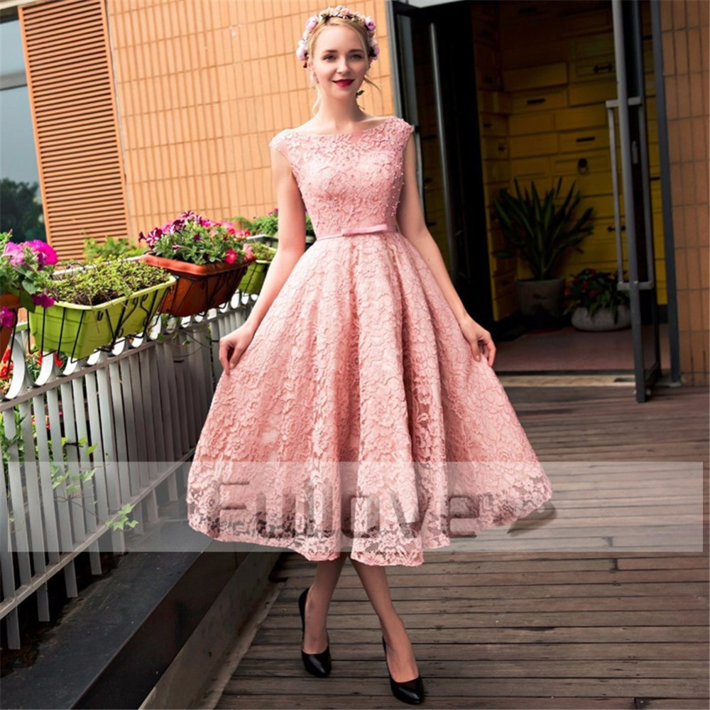 Nouvelle mode rose dentelle robes De bal 2019 perlée Backledss robe De bal a-ligne courte robe De soirée Vestido De Festa Curto Abendkleider