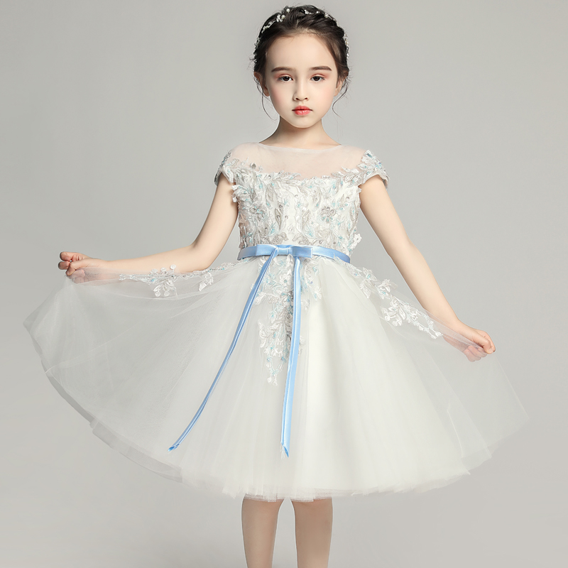Elegant   Flower     Girl     Dresses   For Weddings Ball Gown Bow Lace First Communion   Dress   Brithday Pageant Beads 2019 Evening Gowns