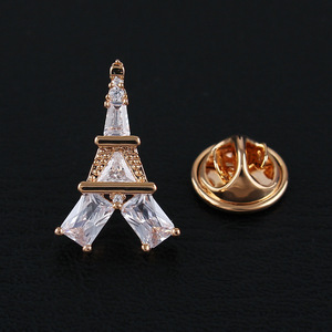 CINDY XIANG Cubic Zirconia Effile Tower Unisex Collar Pin Brooches For Women And Men Copper Jewelry Wedding Coat Accessories