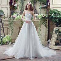 ILoveWedding Amazing Floral Lace Wedding Dresses For Women In Stock 2017 Chiffon Court Train Beaded Bridal
