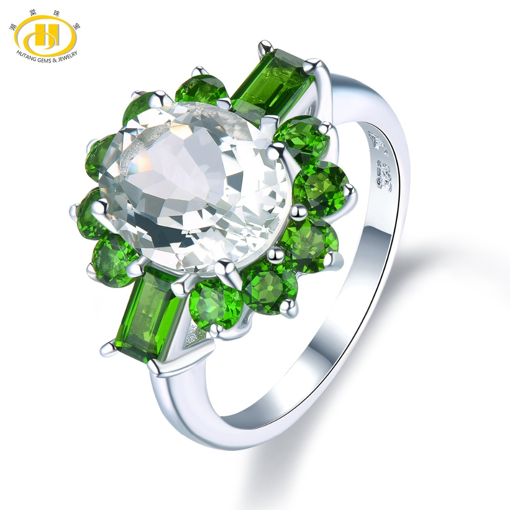 Hutang Engagement Ring Natural Green Amethyst Chrome Diopside Solid 925 Sterling Silver For Women Gift Gemstone Fine Jewelry New hutang natural gemstone chrome diopside 925 sterling silver flower ring for women new fine jewelry presents gift 2018