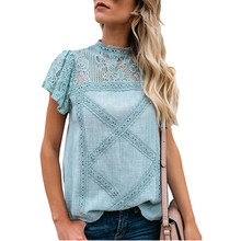 2019 Floral Crochet Lace Shirt Tops Women O neck Summer Blouse Hollow Out Short Sleeve Blouses Female Casual Pullover Blusas(China)