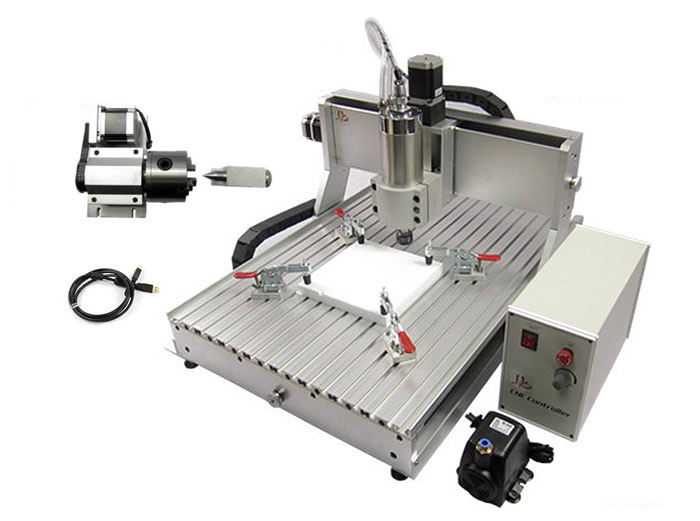 USB port Metal cnc milling machine 6090 CNC Router 2.2KW 4 axis CNC Engraving Cutting Machine with limit switch cnc 5axis a aixs rotary axis t chuck type for cnc router cnc milling machine best quality