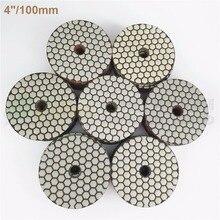 SHDIATOOL 10sets (7pcs/set) Dia100mm/4inches Dry Diamond Polishing Pads 70pcs Resin Bond Diamond Flexible Sanding Disk