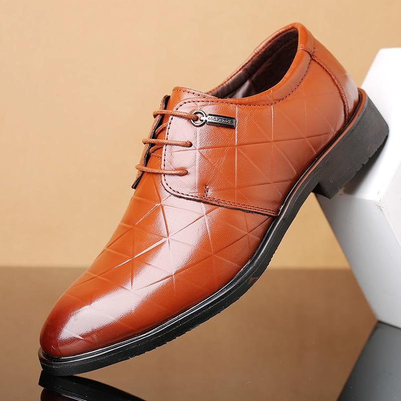 Men Homens Couro Lazer Preto plaid Flats Marca Até Clássico Formal Luxo Black Dos Apontou Brown Novos marrom Rendas Sapatos De plaid Toe Respirável Negócios XFwtOqx