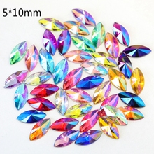 T-TIAO CLUB 100PCS/Bag AB Colorful Horse Eye Nail Art Decoration Acryl spire Flat Bottom Rhinestones Leaf