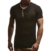 2018 Fashion Man S Tshirt Casual Solid Short Sleeve Henley Shirt Brand Slim Fit Stand Collar