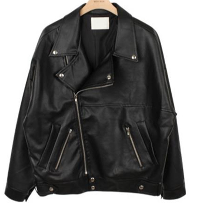 loose   Leather   Jacket Women's PU Jacket Lapel Motorcycle Jacket