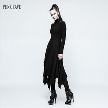 PUNK RAVE Gothic Streetwear 2017 Long Trench Coat Ankle Length Black Solid Color Asymmetric Women Coats Casaco Feminino OPY217