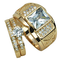 MENS WOMENS Set 18k Gold Filled WEDDING ENGAGEMENT RING BAND R206 280 Men Size 8 9