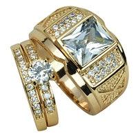 MENS WOMENS Set 18k Gold Filled WEDDING ENGAGEMENT RING BAND R206 280 Men Size 8 9